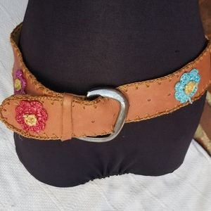 Accessories - Boho whipstitched leather belt M/L